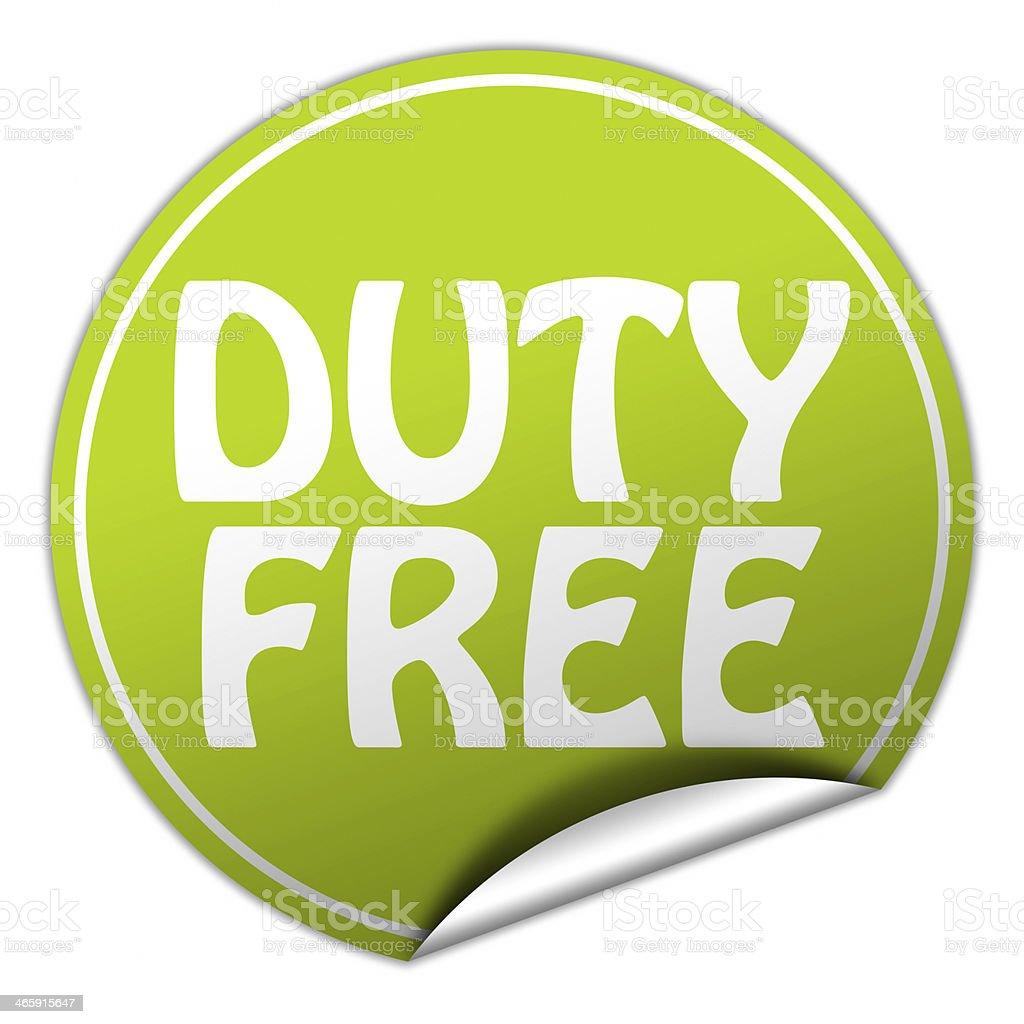 duty free round green sticker on white background stock photo