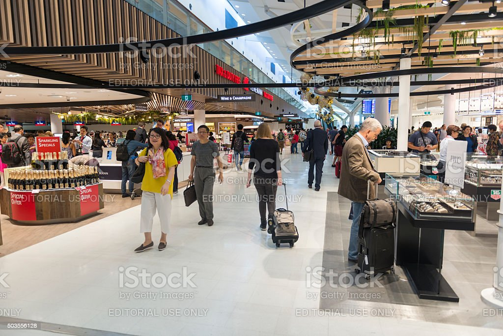Duty free section of Sydney Airport stock photo