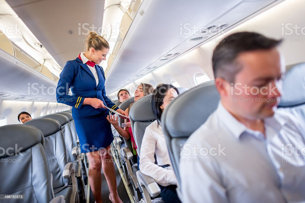 Duty free service onboard stock photo