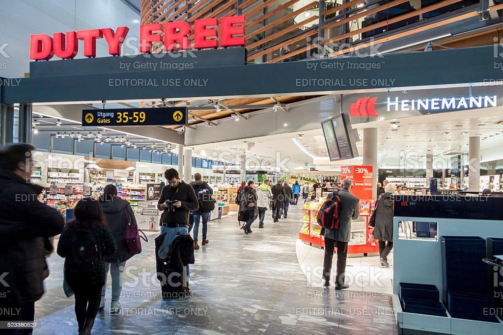 Duty Free Shop at Oslo Gardermoen International Airport stock photo
