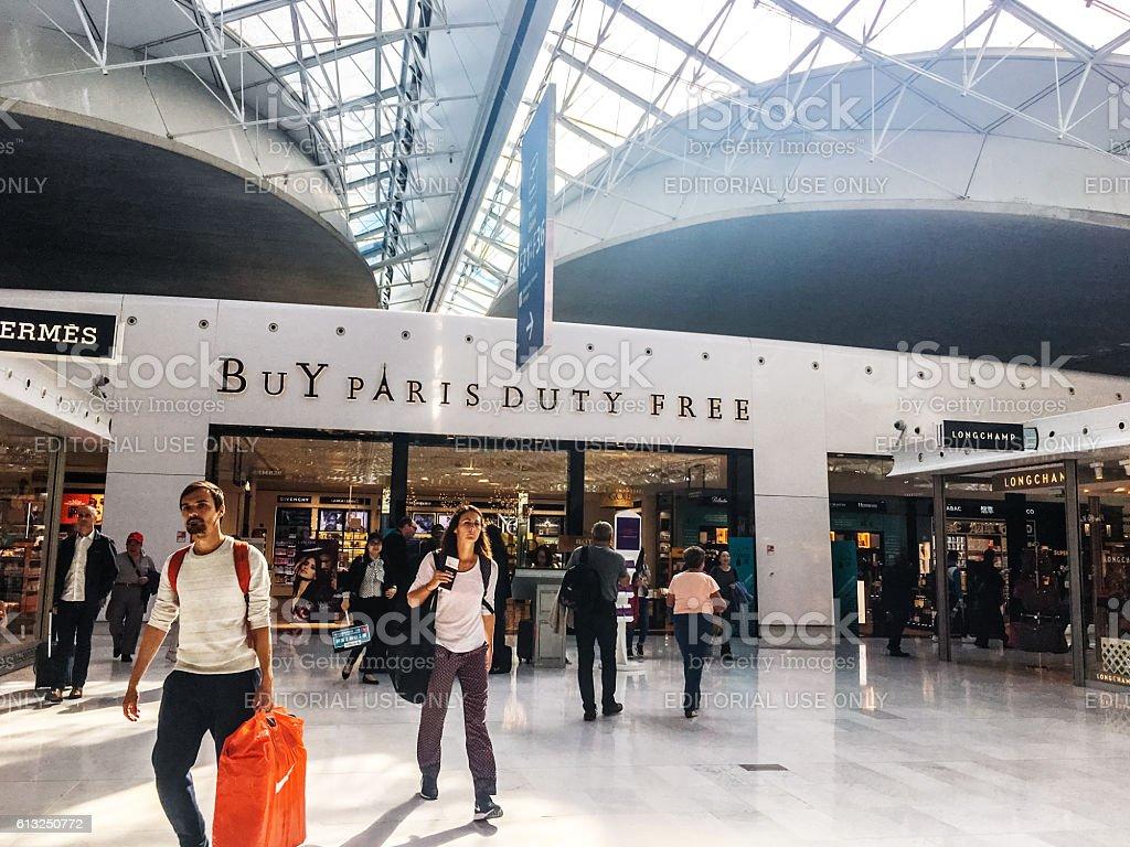 Duty free shop at Roissy airport, Paris, France stock photo