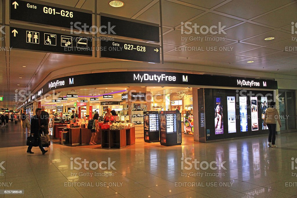 Duty free shop in airport, Munich, Germany. stock photo