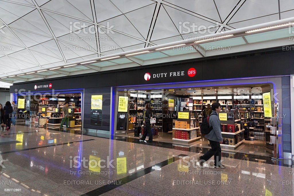 Duty Free Shop in Hong Kong International Airport stock photo