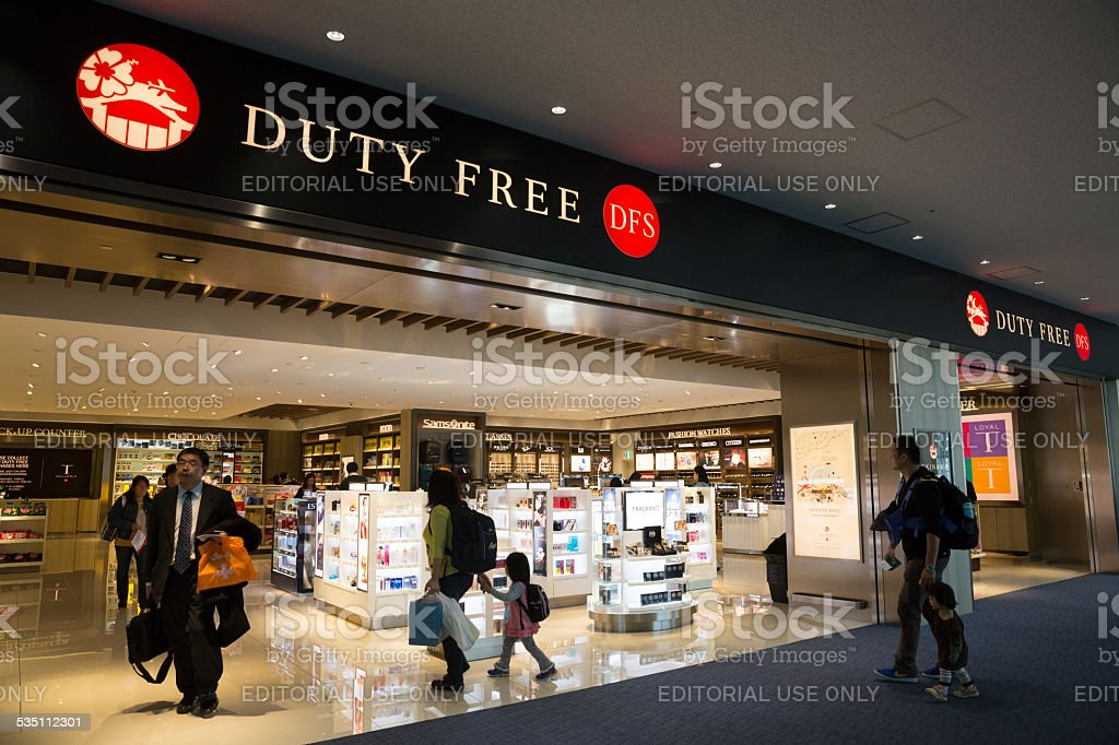 Duty Free Shop in Naha Airport, Japan stock photo