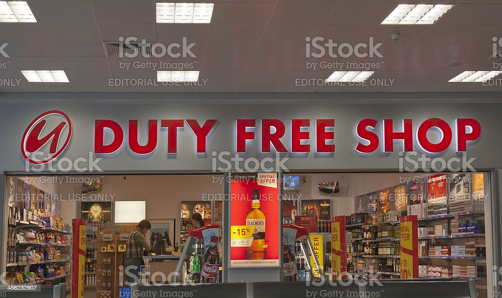 Duty Free Shop in Prague Airport stock photo