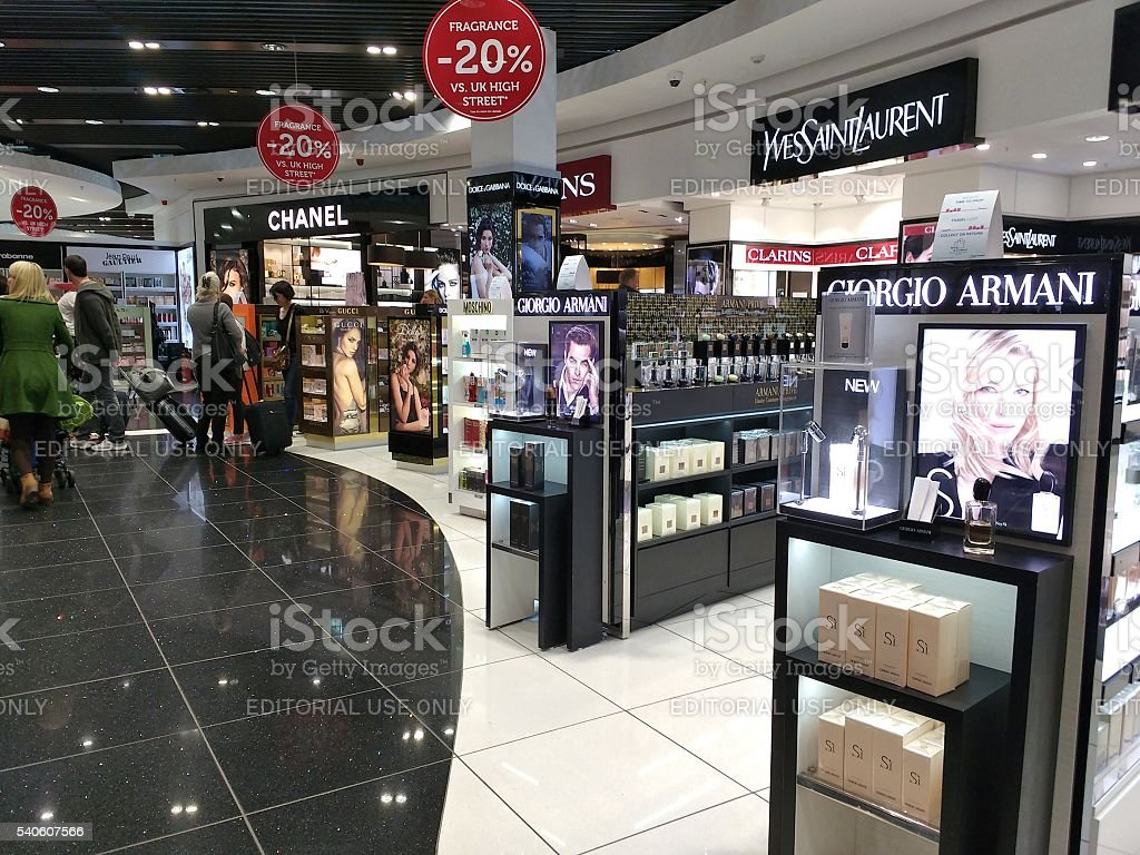 Duty free shop stock photo