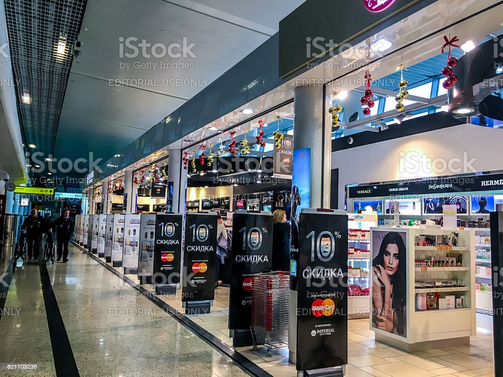 Duty Free shops at Moscow Sheremetyevo Airport, Russia stock photo