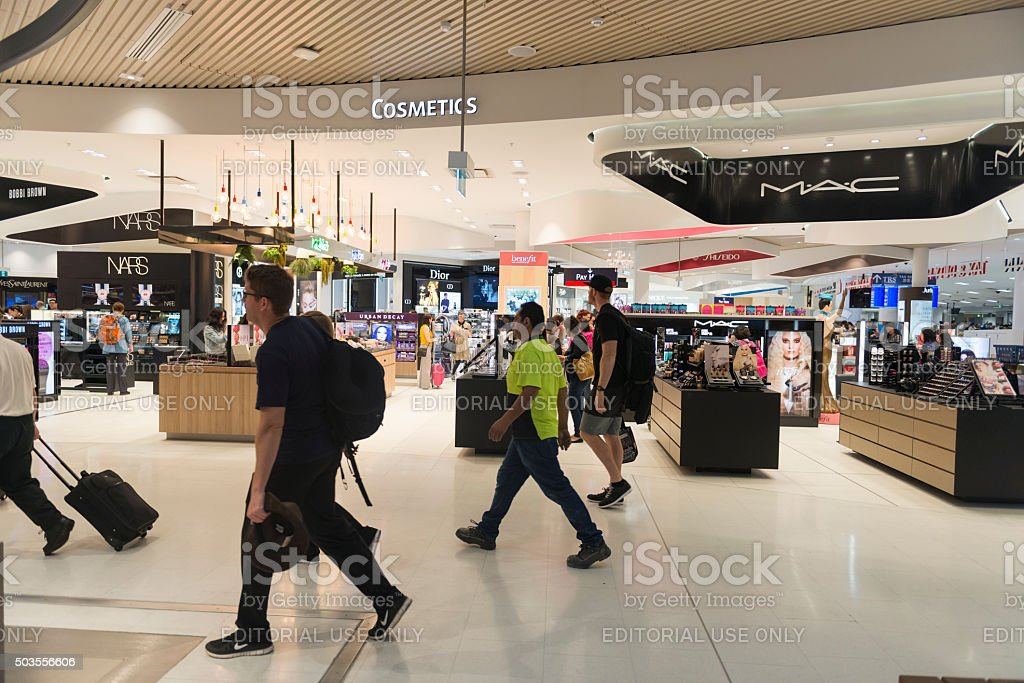 Duty free shops in Kingsford Smith Airport stock photo
