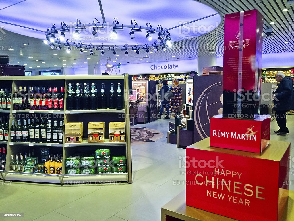 Duty Free Store in Shiphol Airport, Amsterdam stock photo