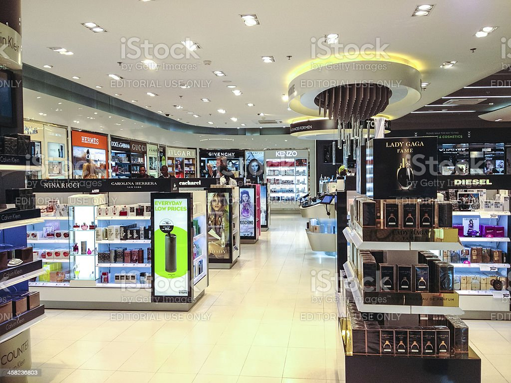 Duty Free Store in Zurich Airport stock photo