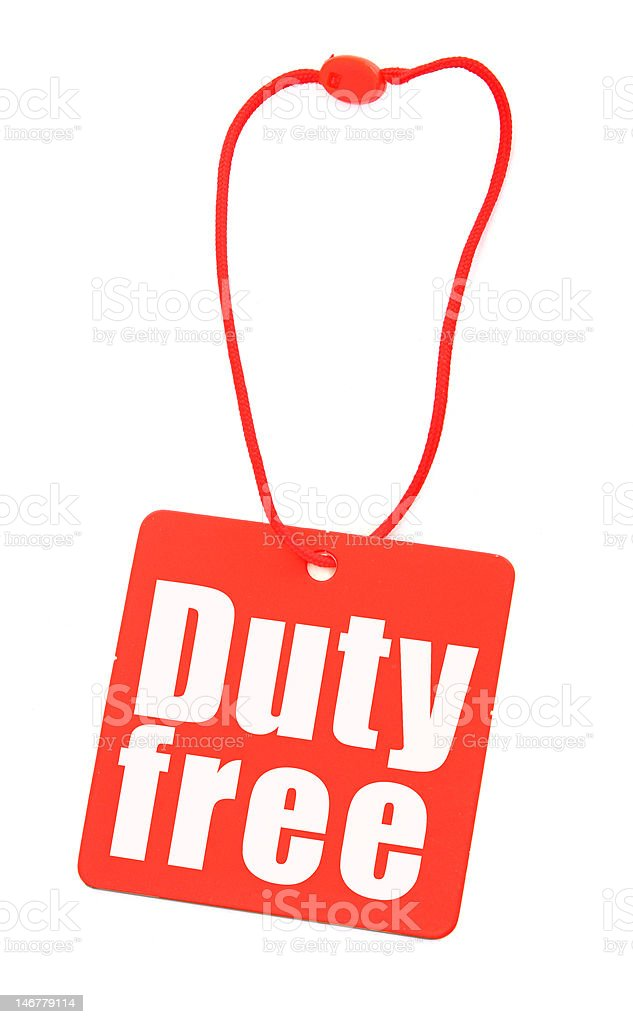 Duty free tag on white royalty-free stock photo