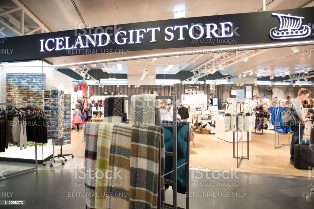 Duty tax free shopping at Iceland Gift Store in Keflavik International Airport stock photo