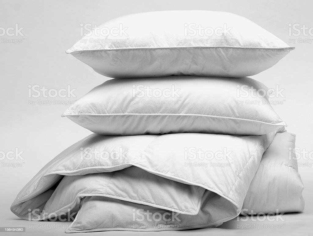 duvet and pillow stock photo