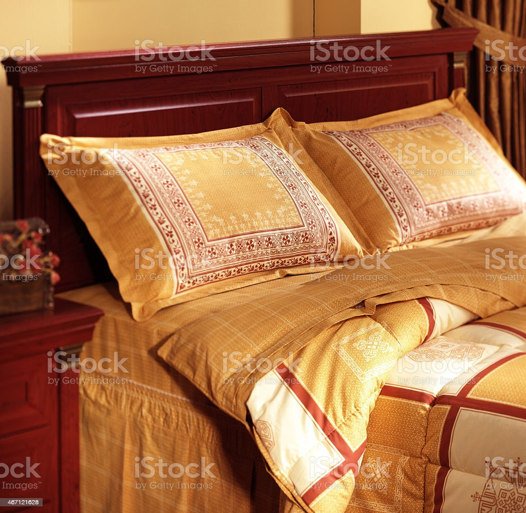duvet in the classical bedroom stock photo