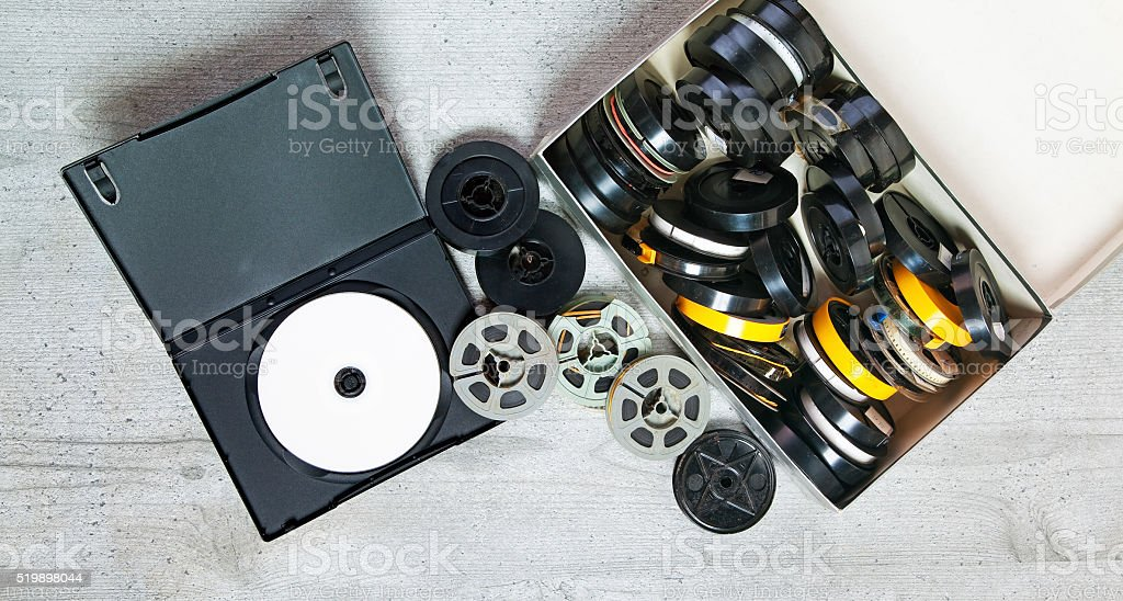 Dvd and old 8 mm and Super8 stock photo
