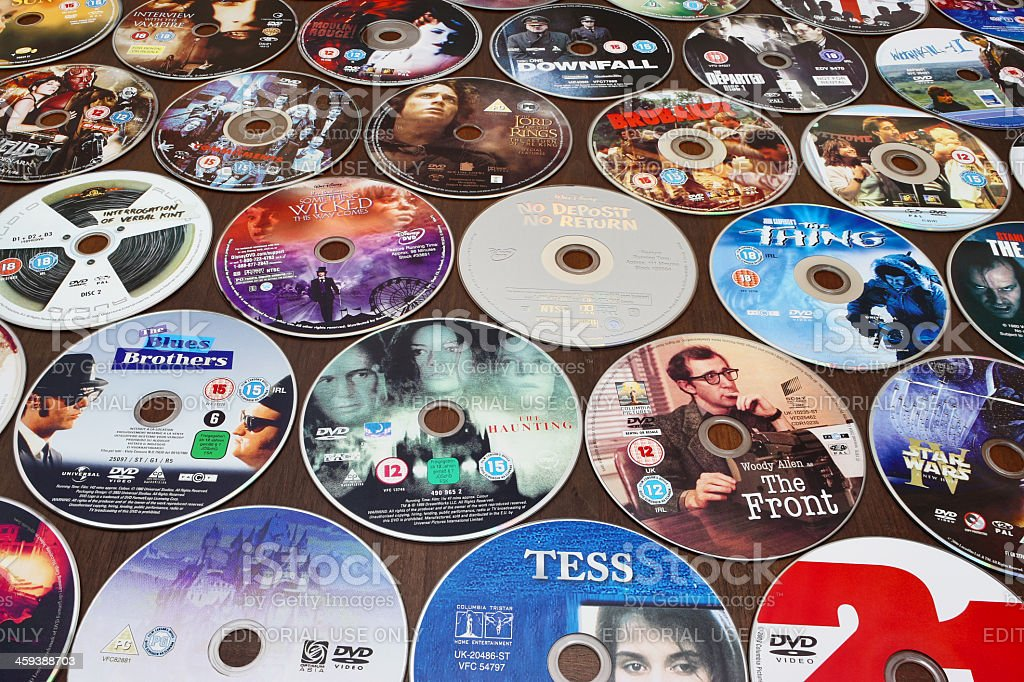 DVDs on a table stock photo