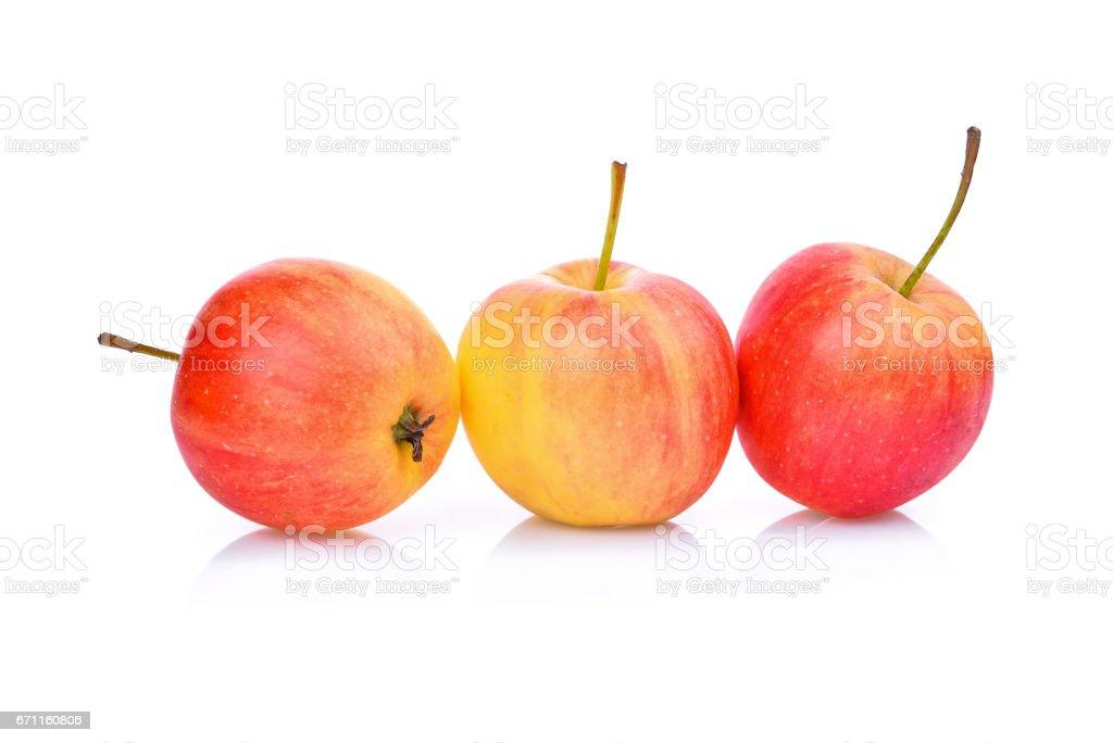 dwarf apples isolated on white background stock photo