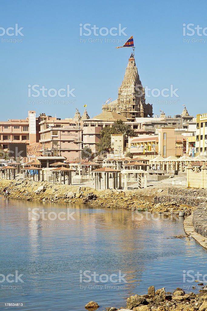 Dwarka Bay and Krisna Temple stock photo