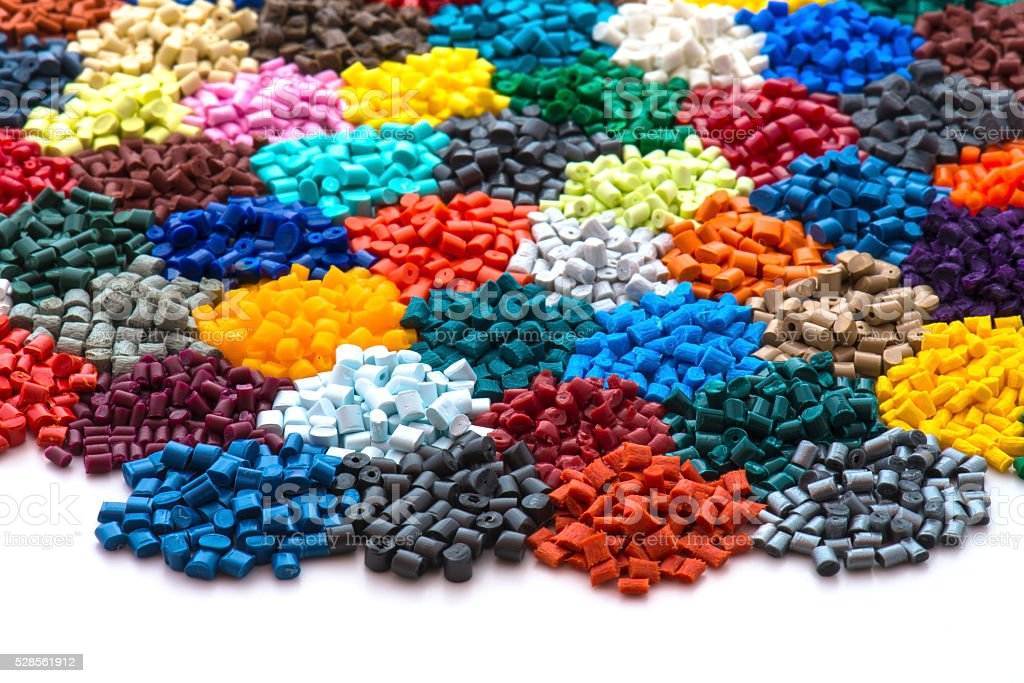 dyed plastic granulate resins stock photo