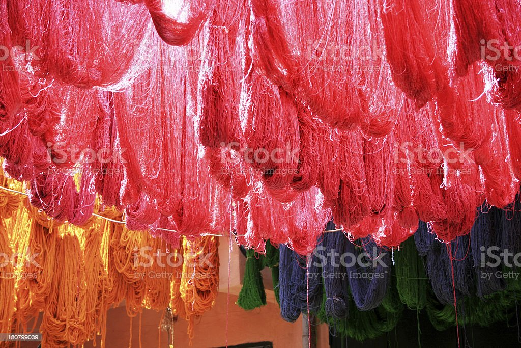 Dyed Silk Drying stock photo