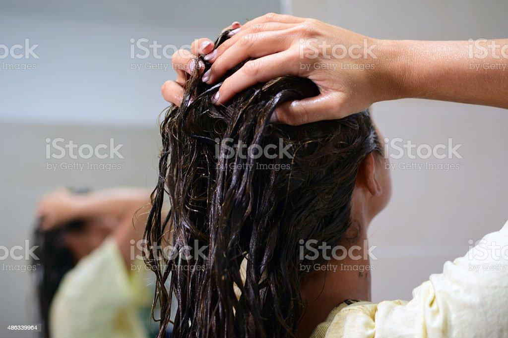 Dyeing hair stock photo