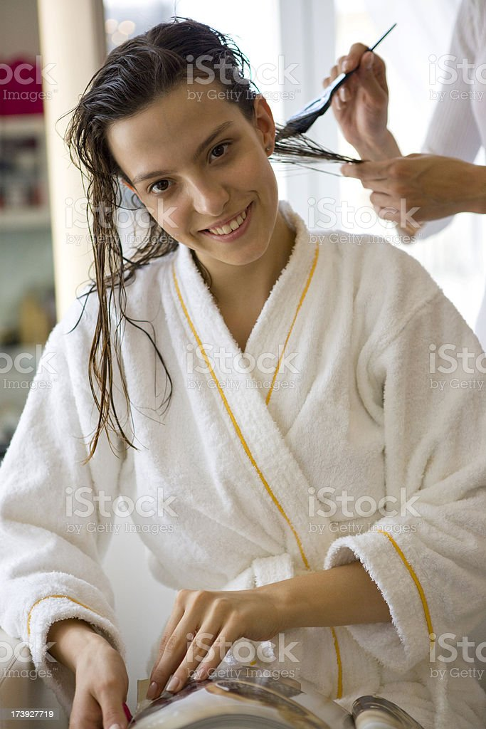 Dyeing womans hair royalty-free stock photo