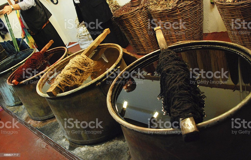 Dyeing wool yarns stock photo