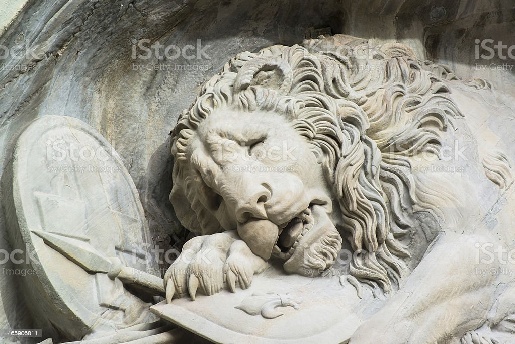Dying lion monument in Lucerne, Switzerland stock photo