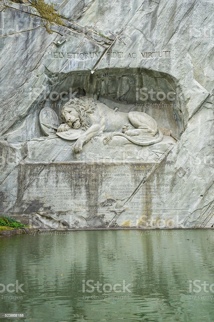 Dying Lion Wall Monument, Lucerne Switzerland stock photo
