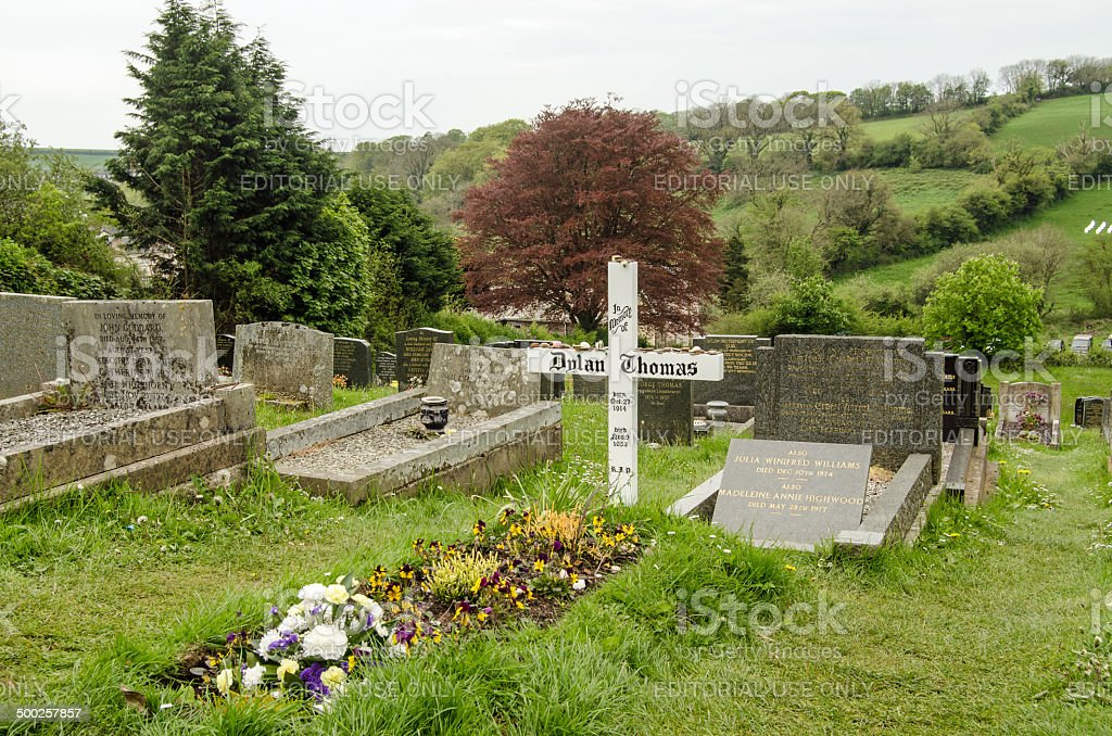 Dylan Thomas grave, Laugharne royalty-free stock photo