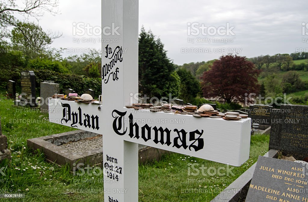 Dylan Thomas headstone, Laugharne royalty-free stock photo