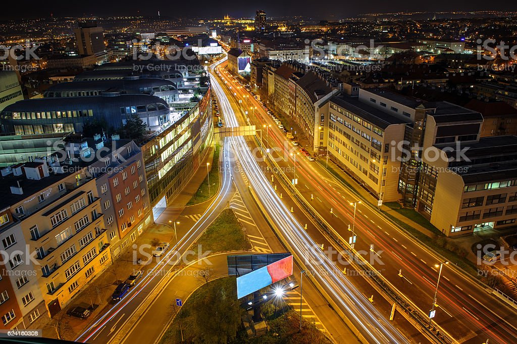 Dynamic city life in dark night. Prague from beauty perspective stock photo
