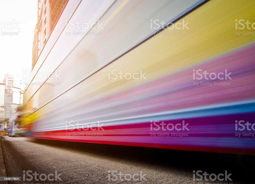 Dynamic city with bus on the road stock photo