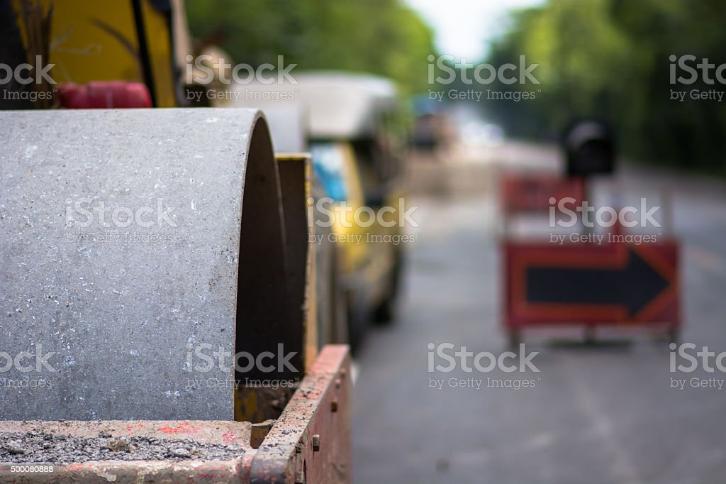 Dynamic compaction with vibrating stock photo