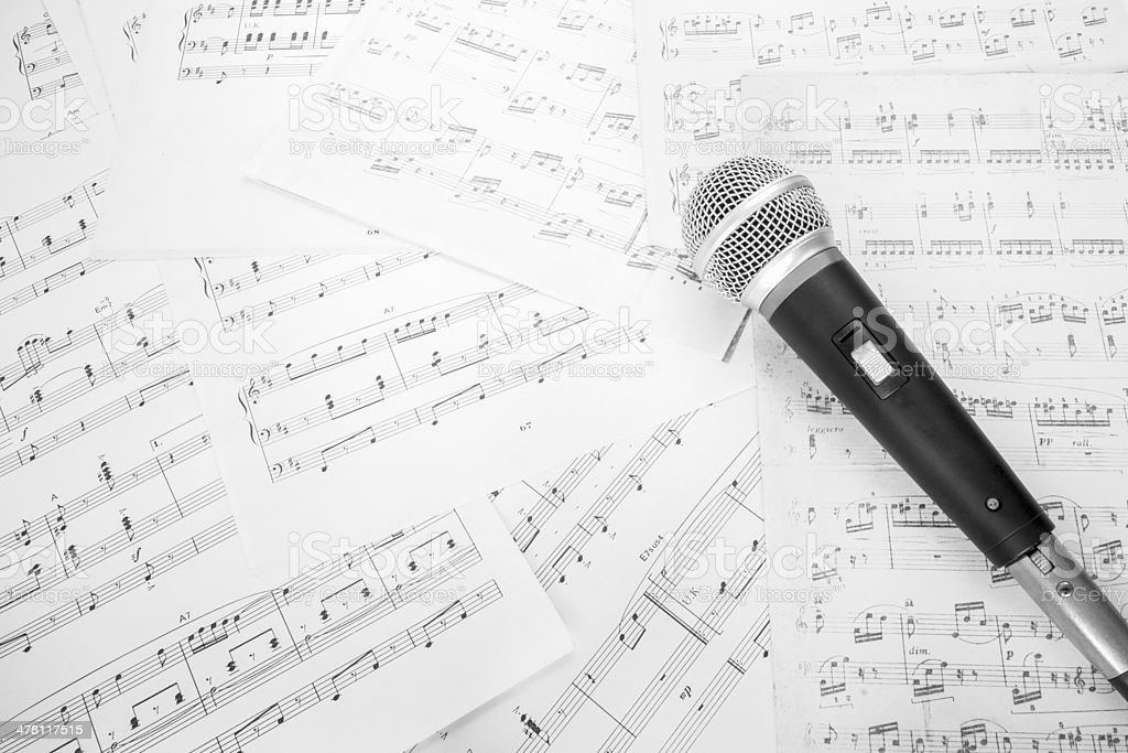 dynamic microphone on music sheet stock photo
