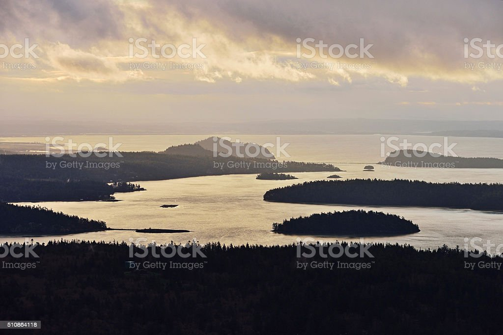 Dynamic Morning Sky over Puget Sound stock photo