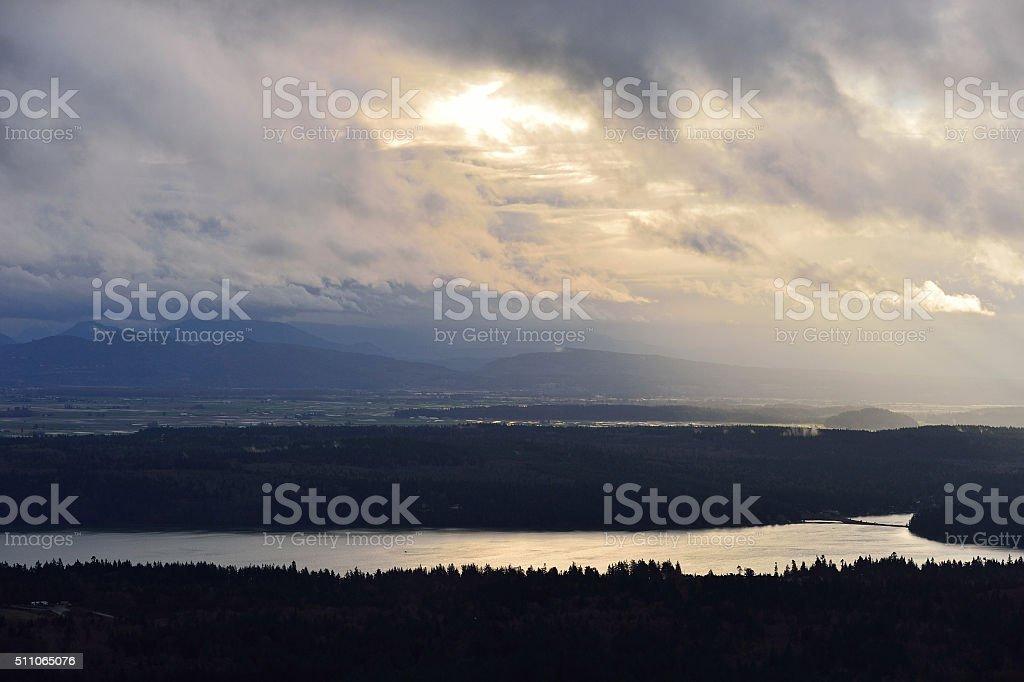 Dynamic Morning Sky over Skagit Valley stock photo