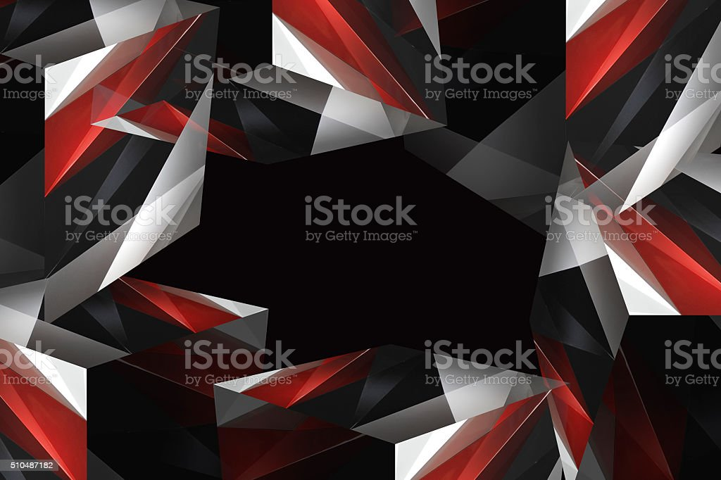 Dynamic multicolor polyhedron composition comprising several parts of cubes stock photo