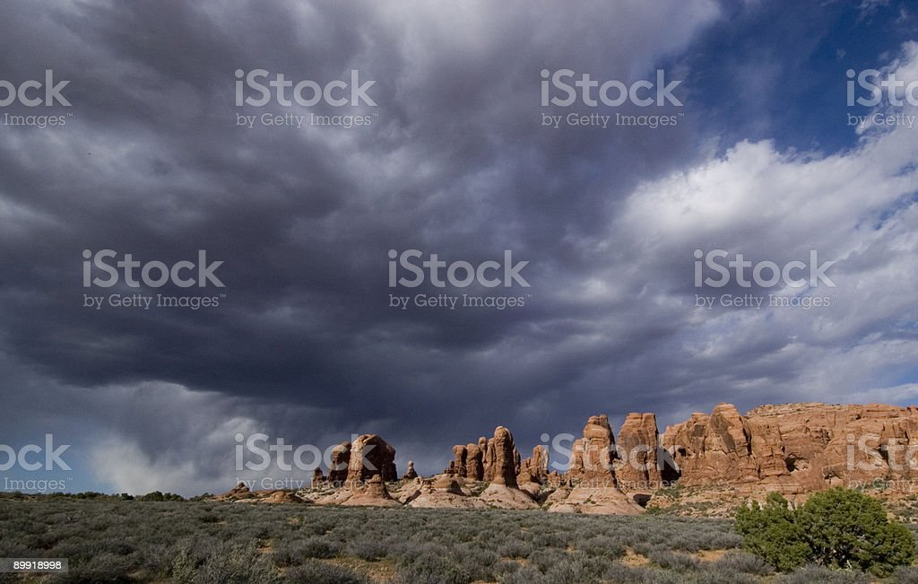 Dynamic Sky Above Arches National Park stock photo