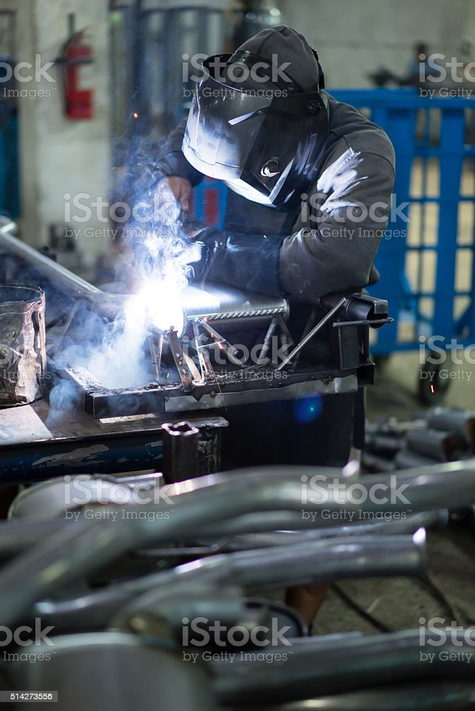 dynamic view of a worker stock photo