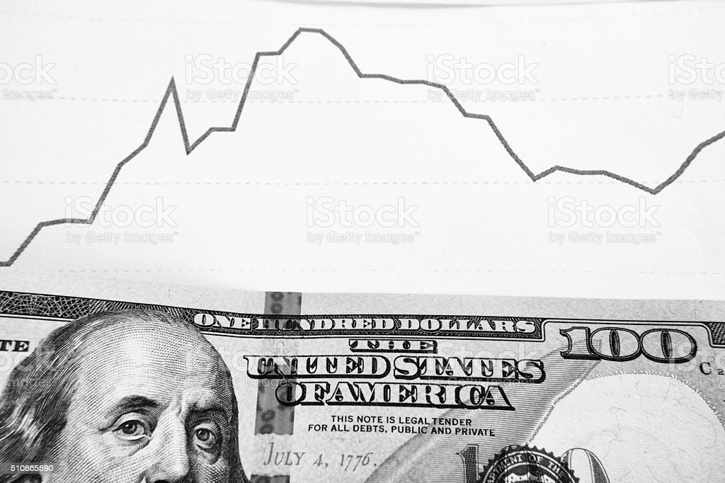 dynamics of exchange rates. Dollar and euro chart. stock photo