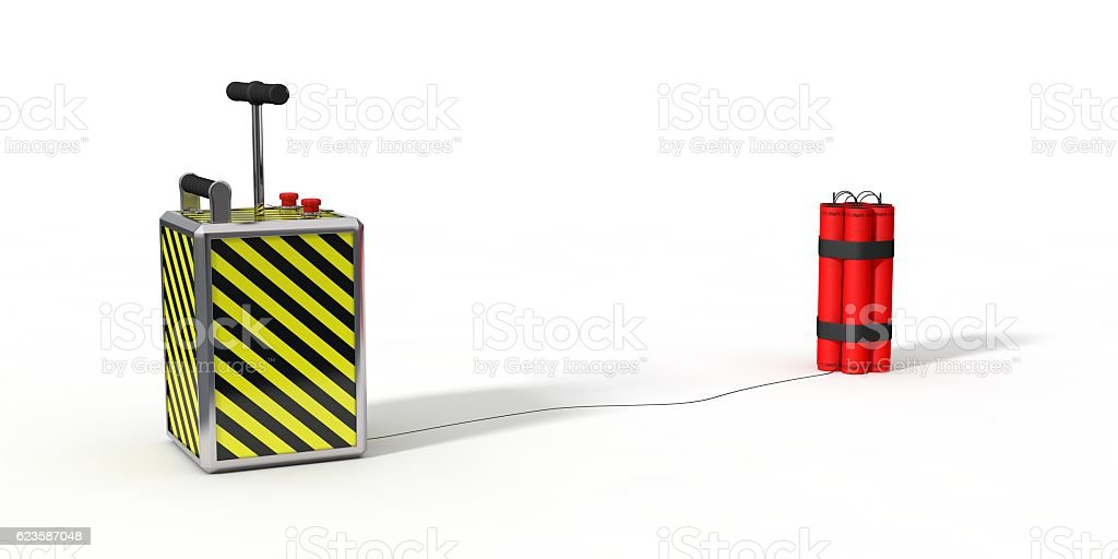 dynamite pack and detenator. 3d illustration. stock photo