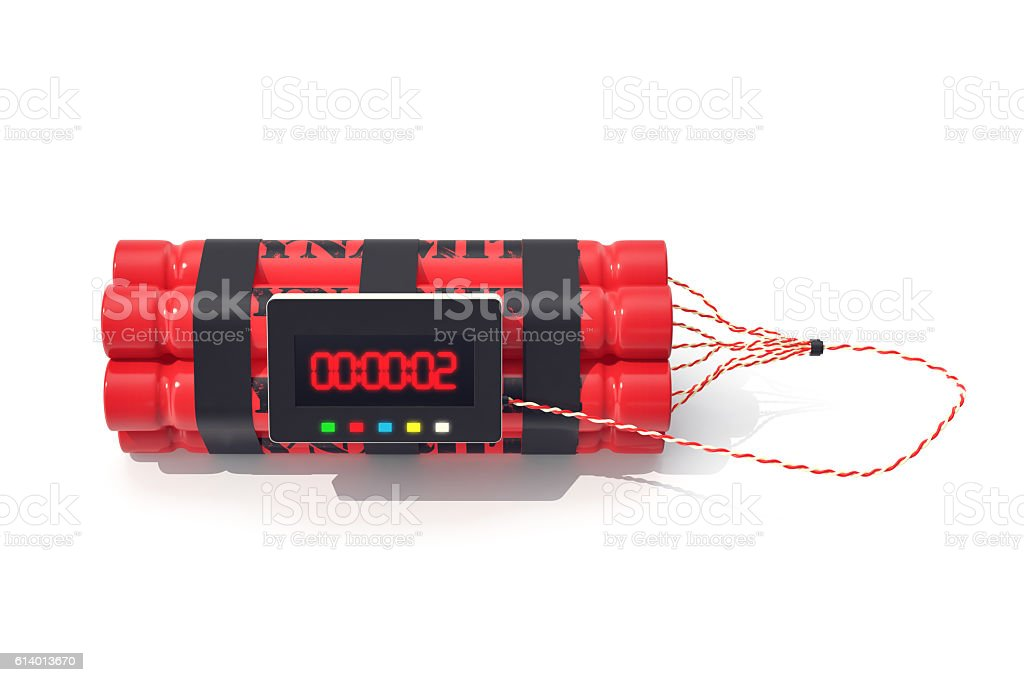 TNT dynamite red bomb with a timer isolated on  white stock photo