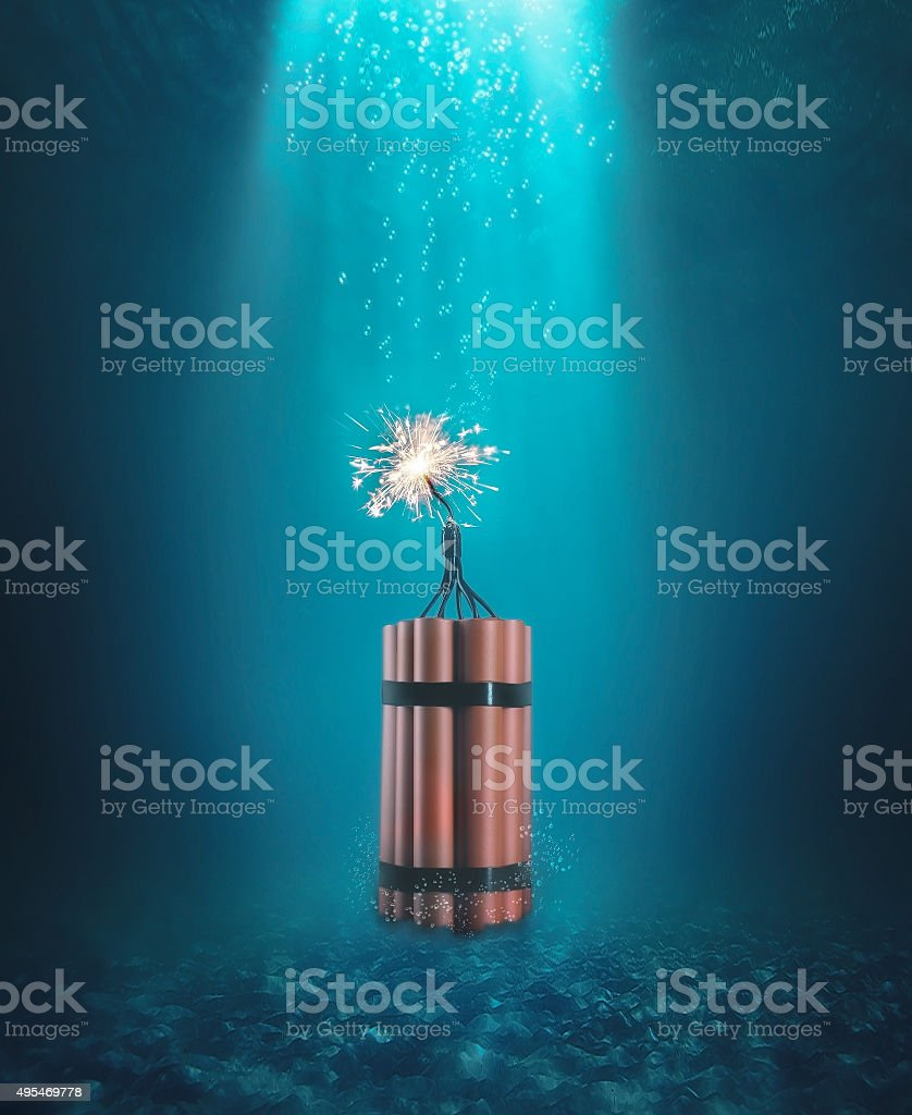 Dynamite under the water stock photo