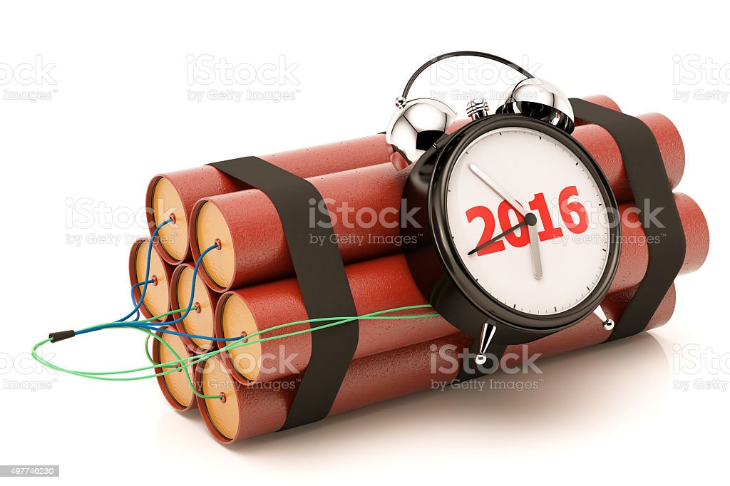 Dynamite with 2016 Clock stock photo