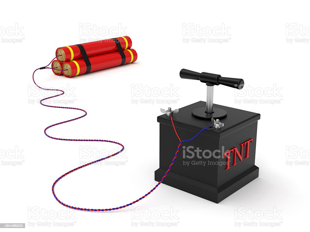 Dynamite with detonating fuse stock photo
