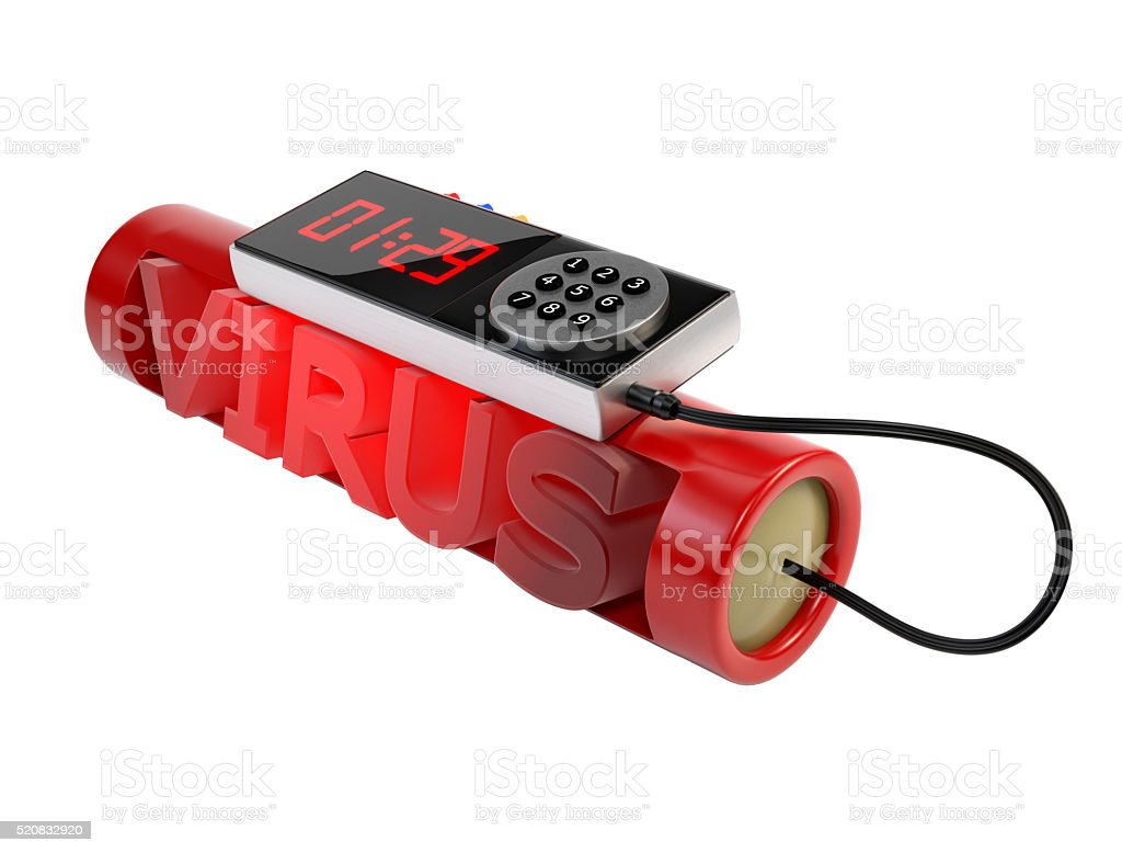Dynamite,isolated background.The concept of a virus attack.3d illustration stock photo