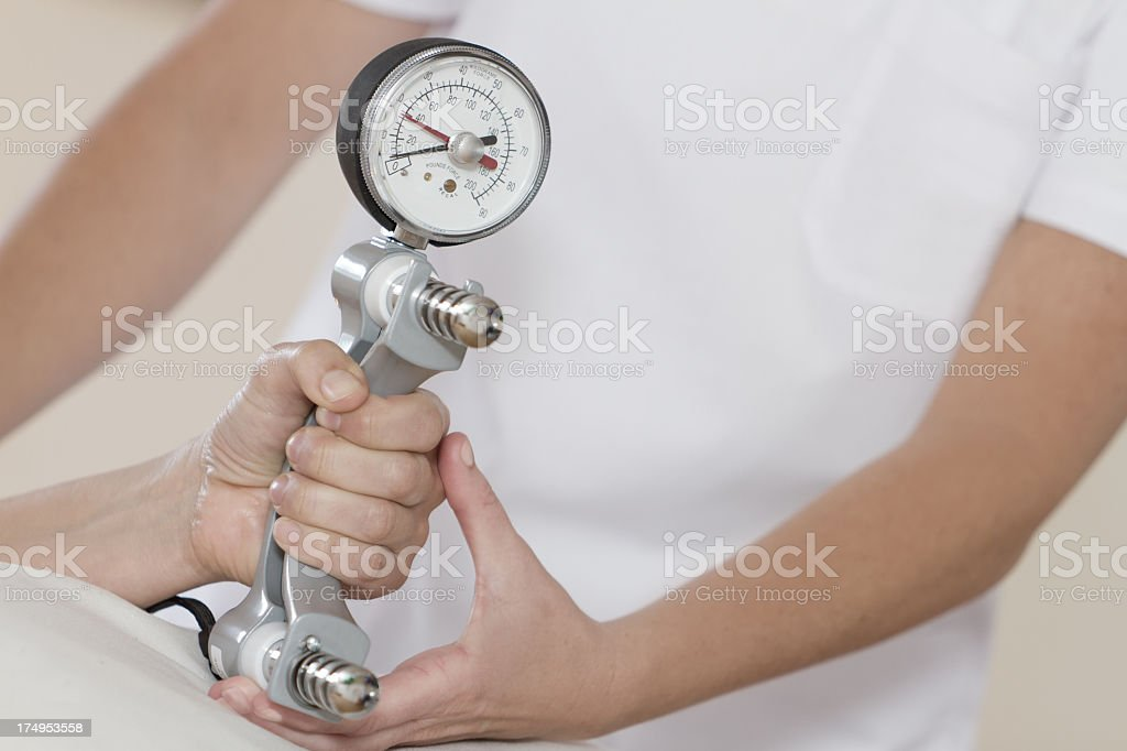 Dynamometer Hand Grip Strength Test stock photo