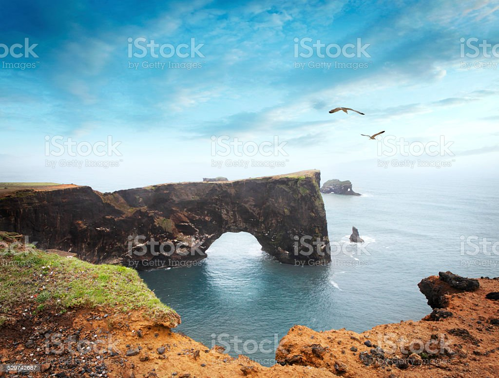 Dyrh?laey peninsula in Iceland stock photo