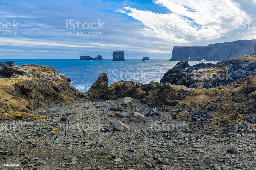 Dyrholaey, a headland  in south Iceland stock photo